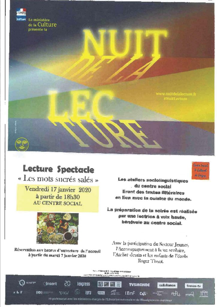 Affiche du Ministère de la Culture en vue de la nuit de la lecture qui aura lieu au centre social de Grigny Vendredi 17 janvier à 18h30